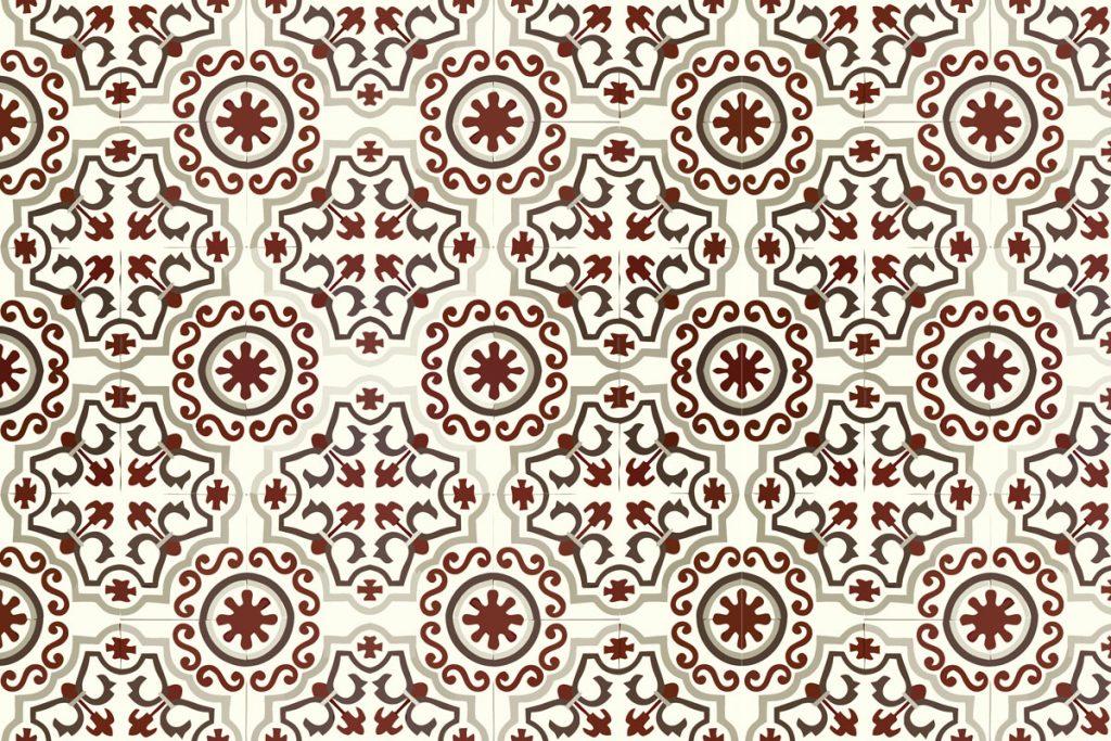 Tapis Mosaico Trebol - Rouge et blanc