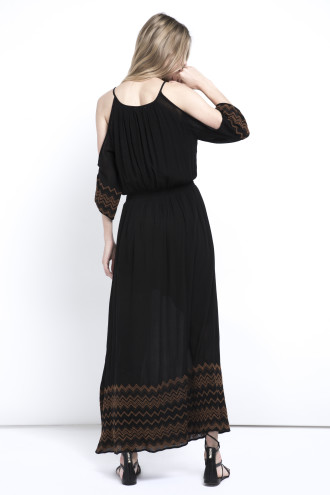 ZIG ZAG Embroidery  Maxi Dress - deby debo