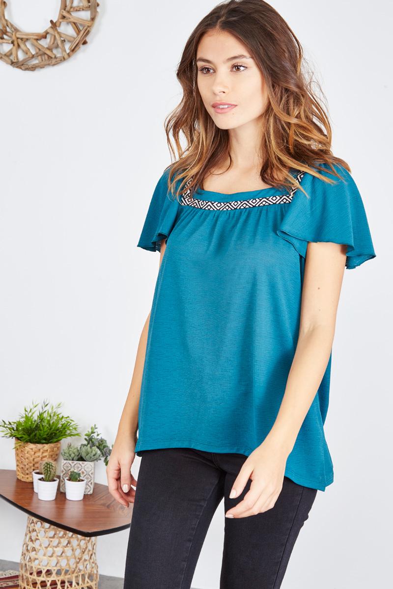 #collectionIRL - top gaufré bleu