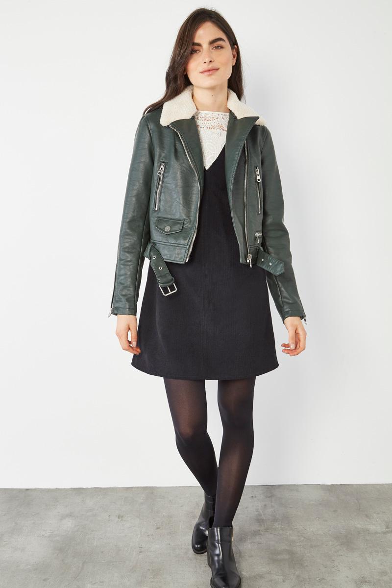 Perfecto effet cuir vert sapin et mouton pour femme, #collectionIRL