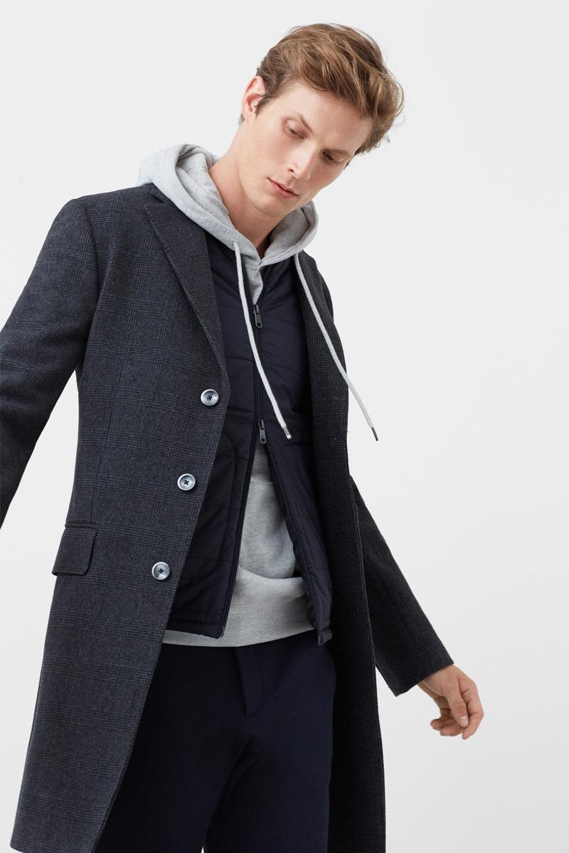 Manteau en laine gris foncé Mango Man