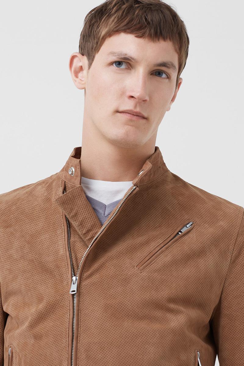 Veste cuir camel Mango Man