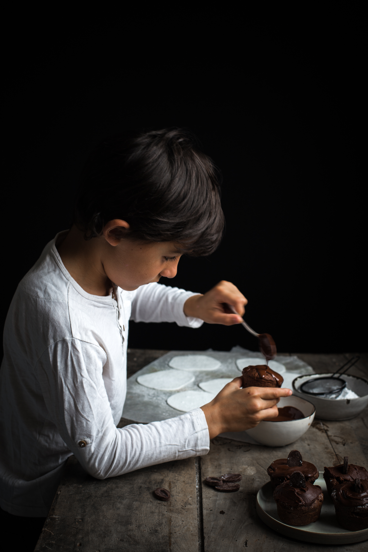Muffins fantômes au chocolat