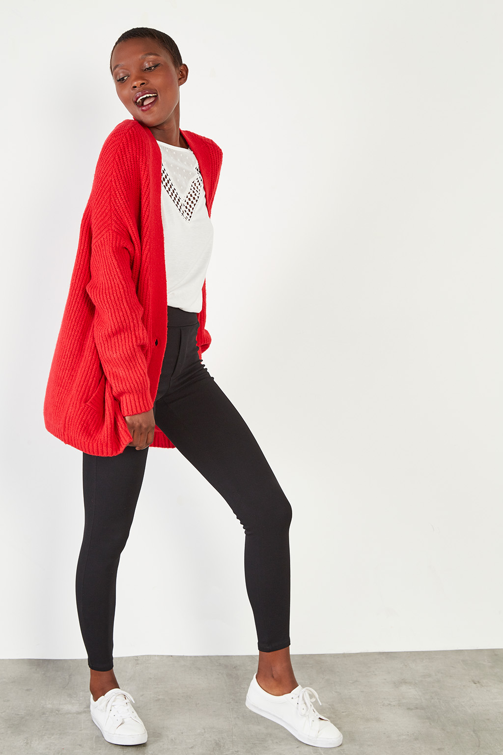 Gilet long rouge #collectionIRL