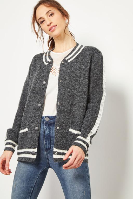 veste gilet style bomber gris et blanc pour femme #collectionIRL