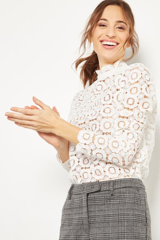 top à dentelle blanche transparente #collectionIRL pour femme