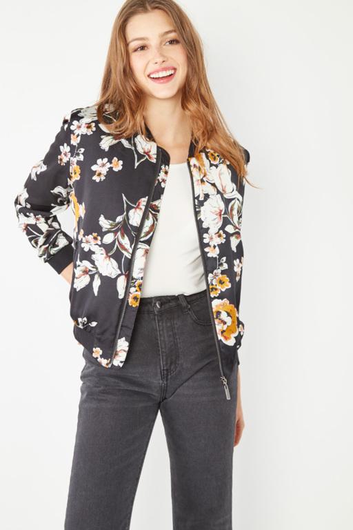 #collectionIRL veste bleu marine à fleurs pour femme