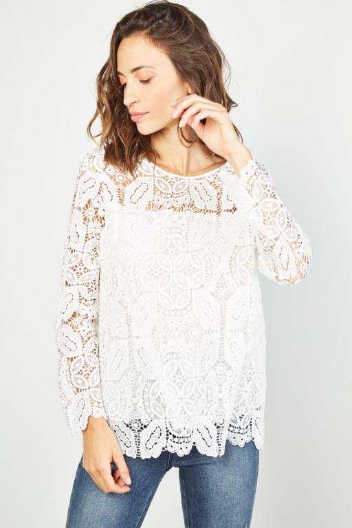 #collectionIRL blouse blanche à dentelle pour femme