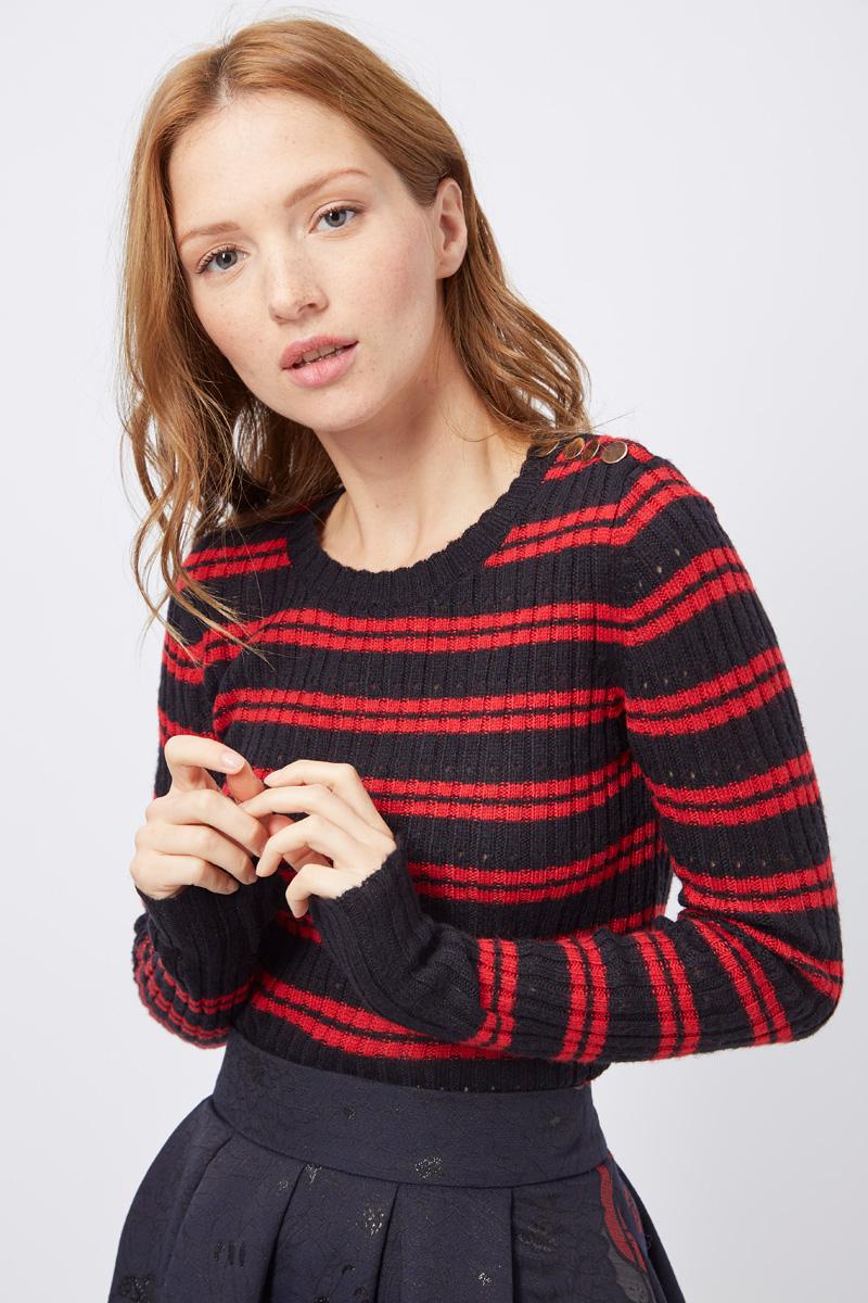Vente privée Sinequanone pull en laine rayée pour femme rouge et noir