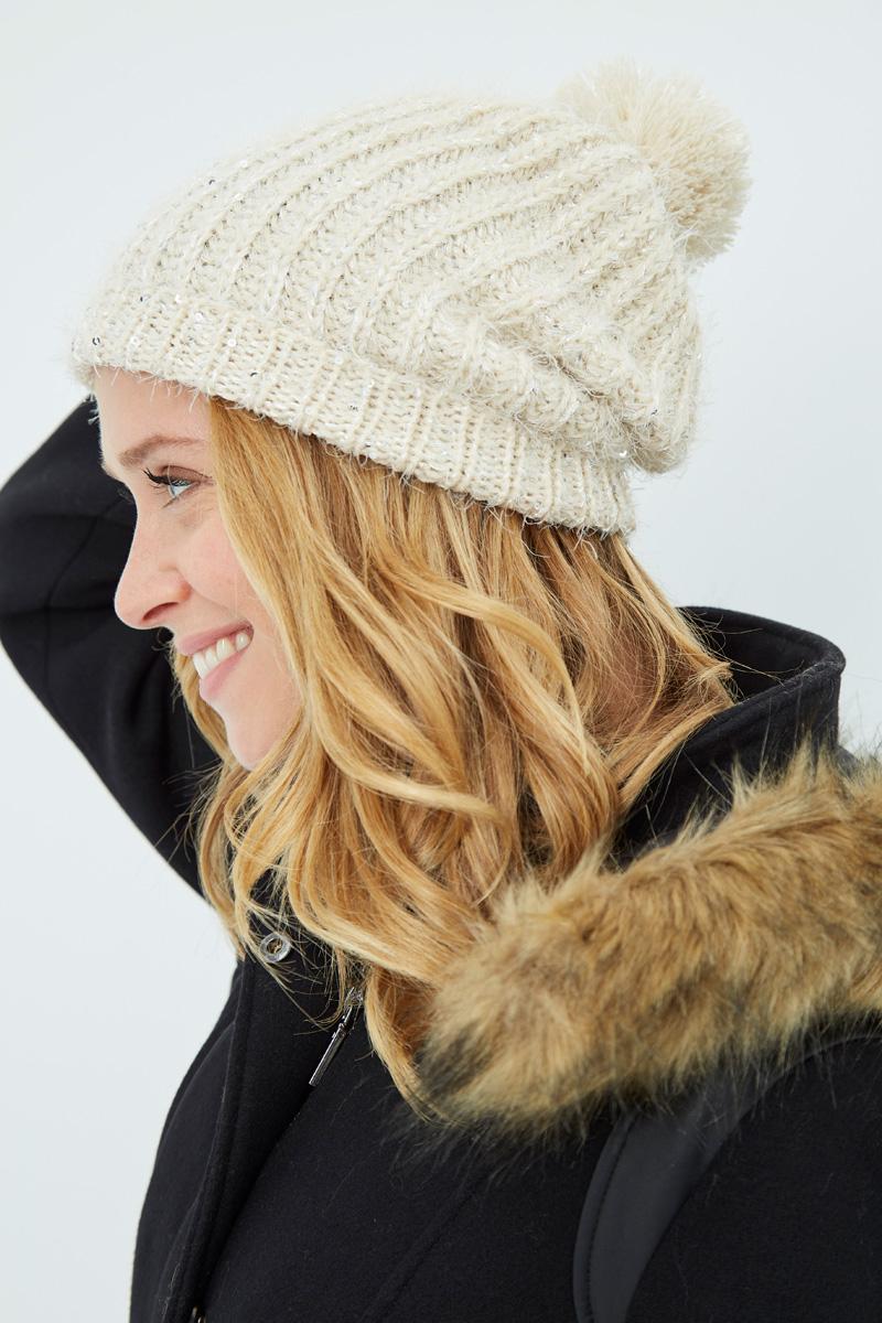 Vente privée Showroomprivé Camaieu accessoires pour femme, bonnet beige à pompon