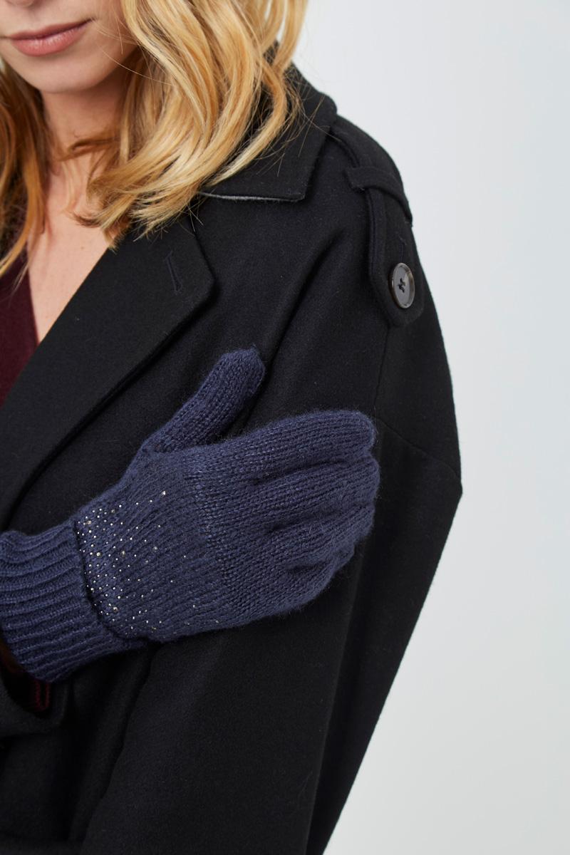 Vente privée Showroomprivé Camaieu accessoires pour femme, gants en laine et paillettes bleu marine