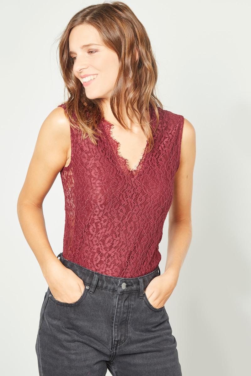 Vêtements pour femmes #collectionIRL sur Showroomprivé, body en dentelle bordeaux
