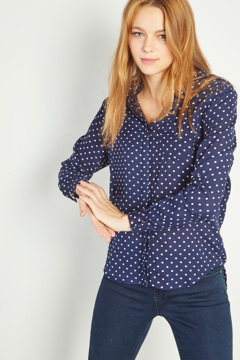 Vêtements pour femmes #collectionIRL sur Showroomprivé, chemise bleue marine à pois