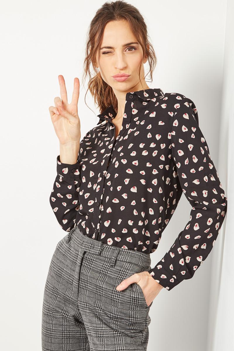 Vente #collectionIRL Showroomprivé pour femme, chemise noire à motifs