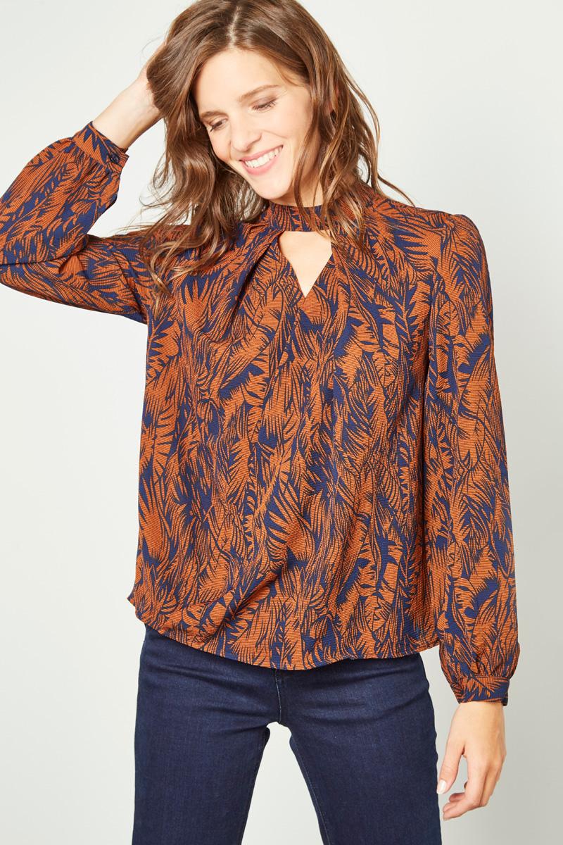 Vente #collectionIRL Showroomprivé pour femme, top à motif rouille et bleu marine