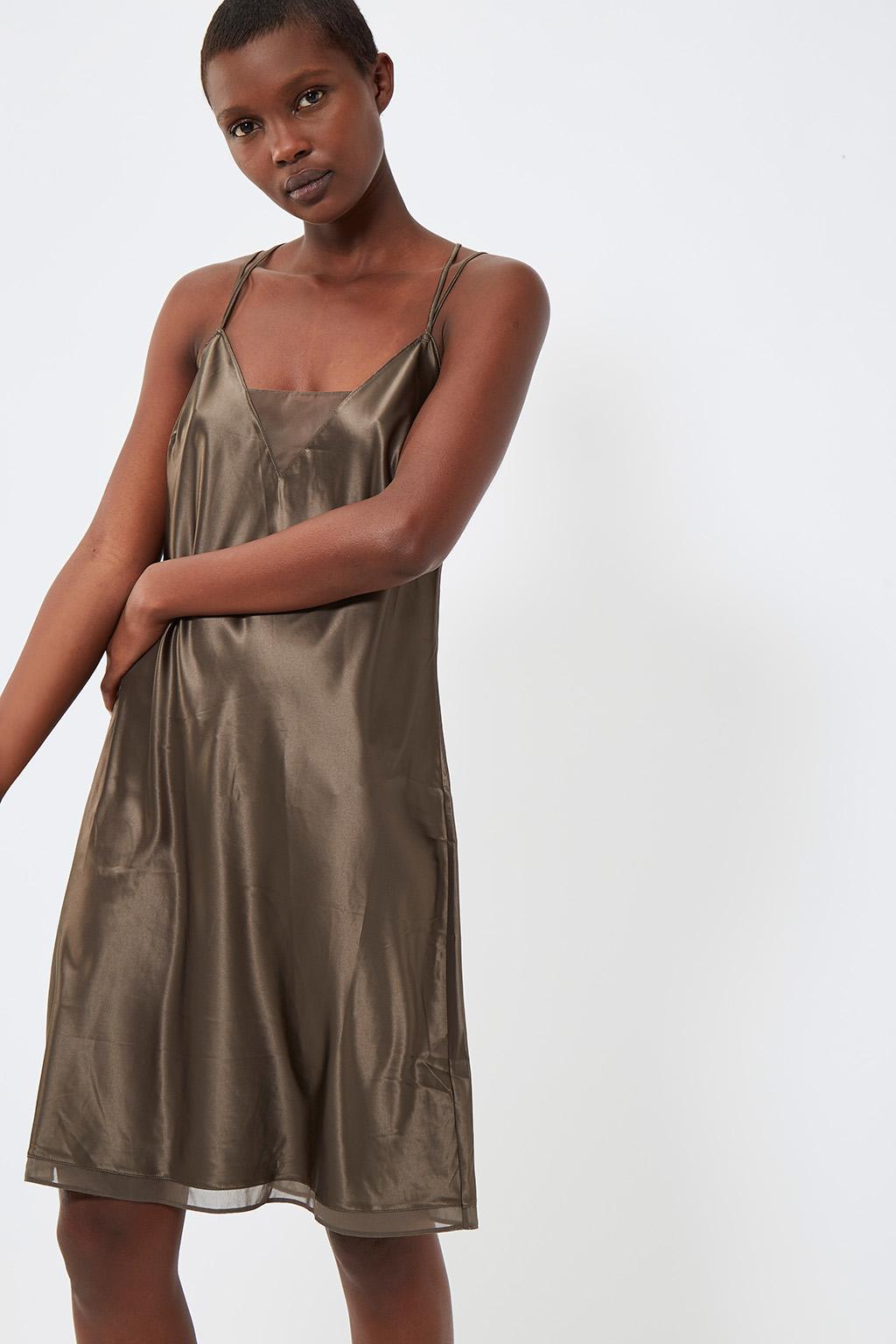 Vente privée femme Oysho lingerie, homewear et sport, nuisette effet soie kaki