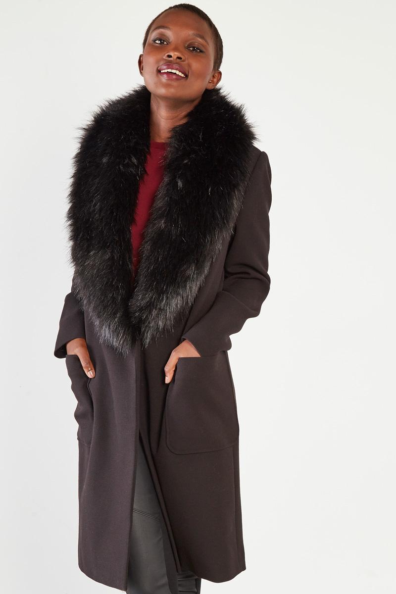 Manteau col fausse fourrure #collectionIRL