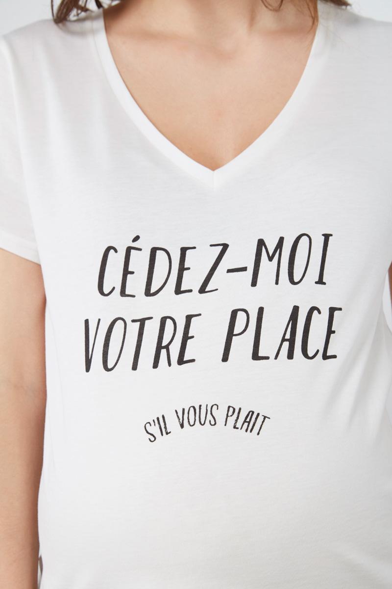 """Tshirt à message #maternityIRL """"Cédez-moi votre place"""""""