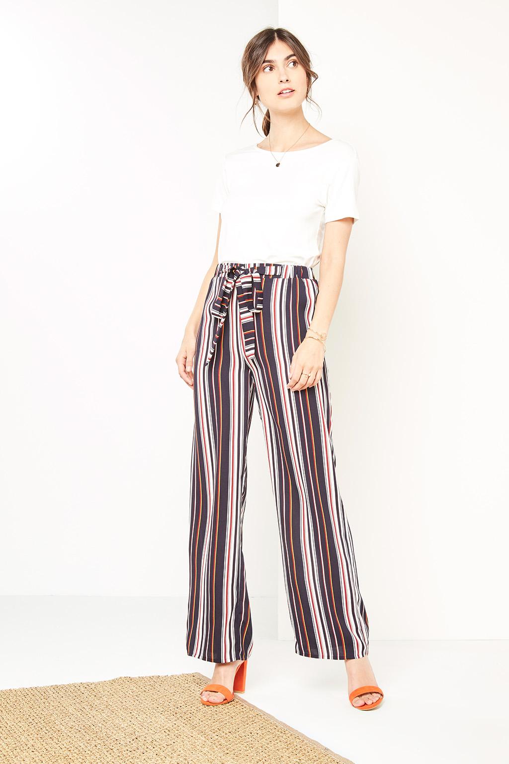 Pantalon large à rayures #collectionIRL sur Showroomprivé