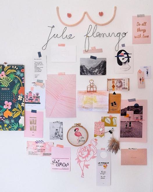 Moodboard créatif par Julie Flamingo.
