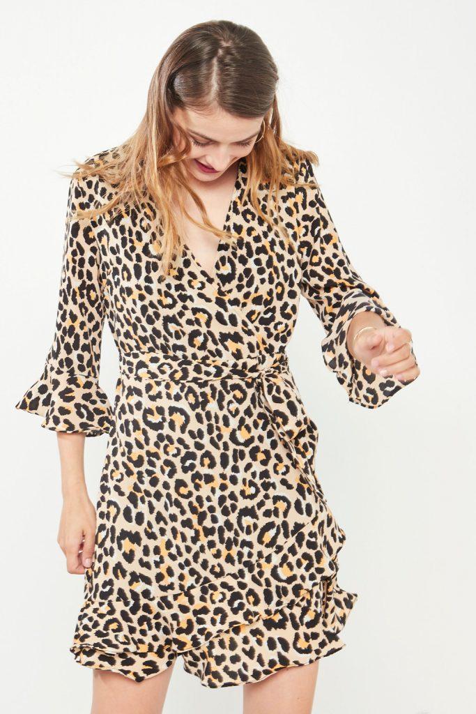 collectionIRL robe portefeuille imprimé léopard