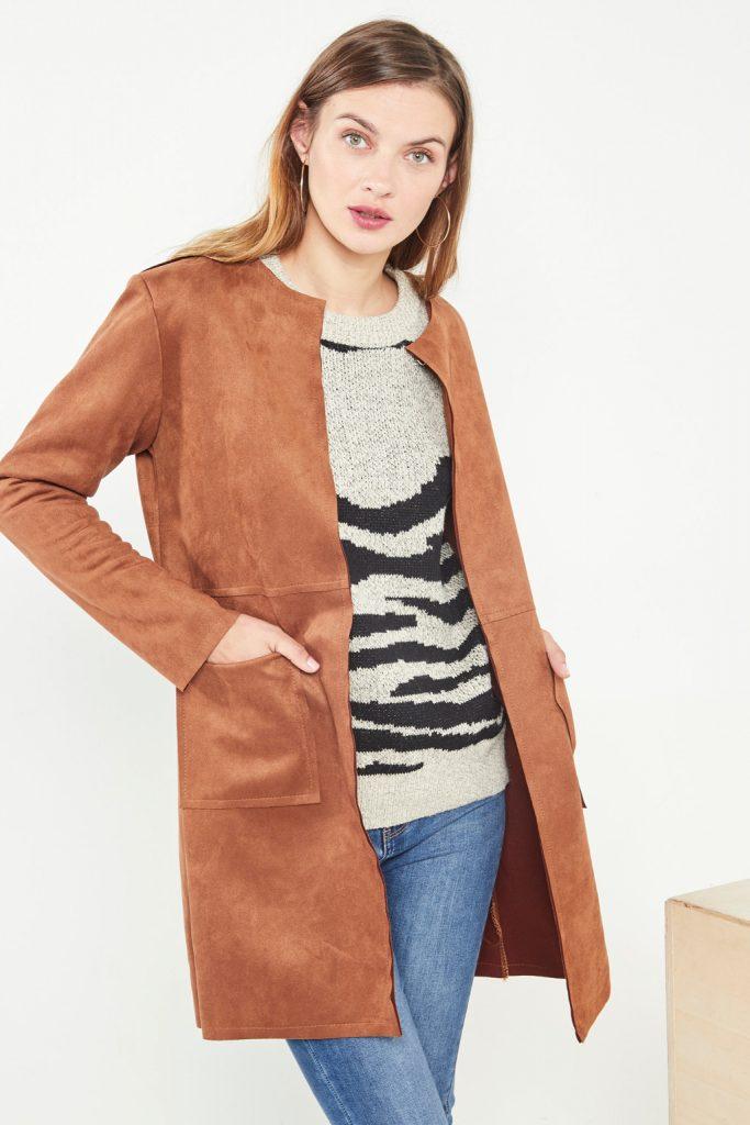 collectionIRL veste longue suède camel