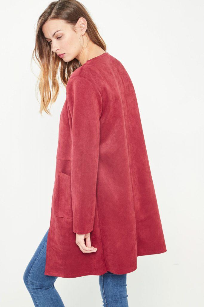 collectionIRL veste longue suède rouge