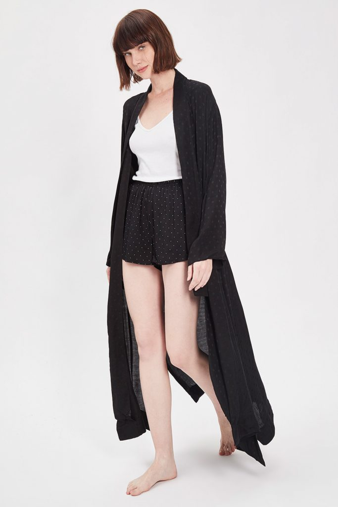 Oysho robe de chambre longue noire