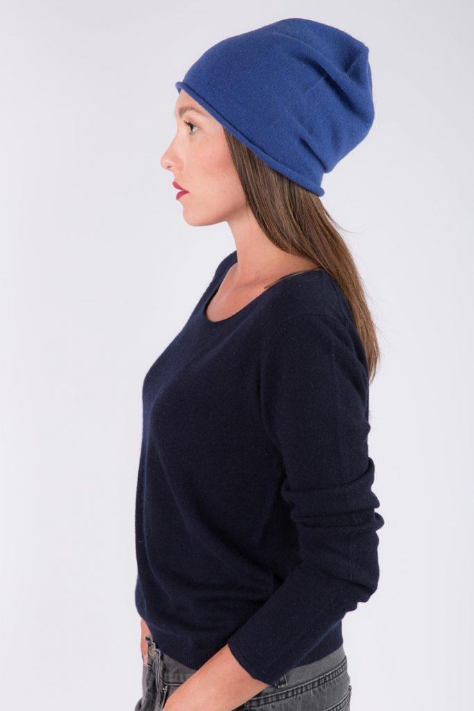 Just Cashmere bonnet cachemire bleu
