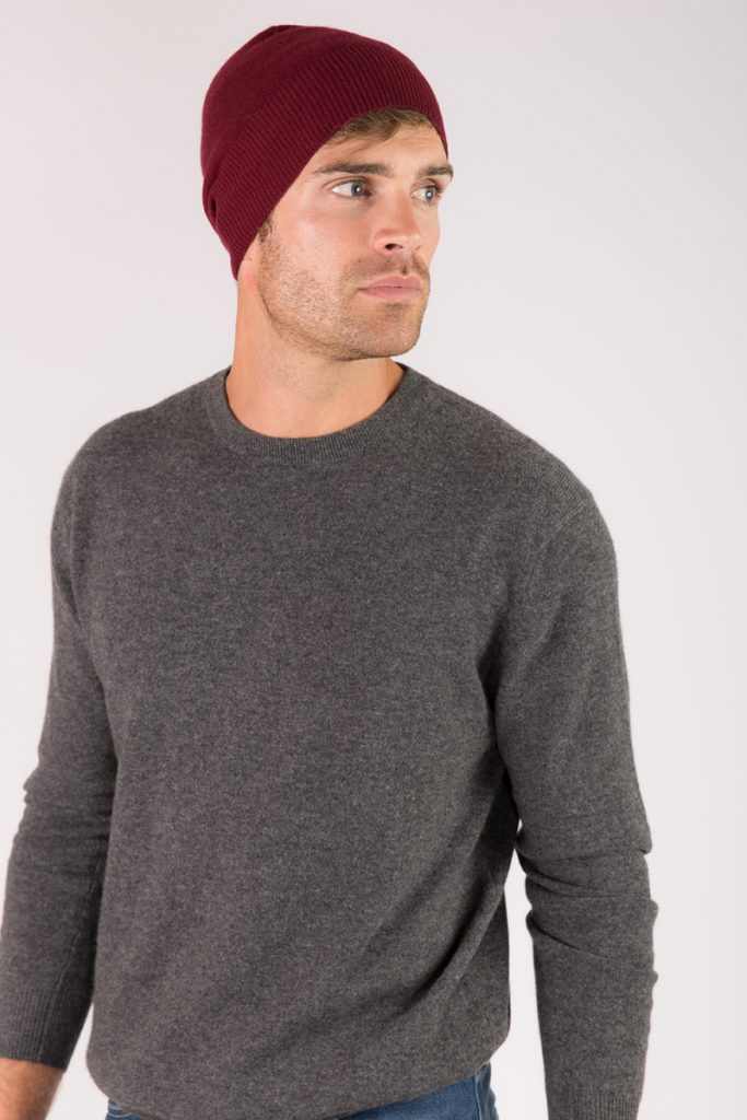 Just Cashmere bonnet cachemire bordeaux