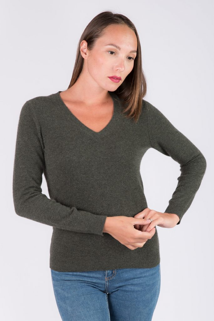 Just Cashmere pull cachemire vert sauge