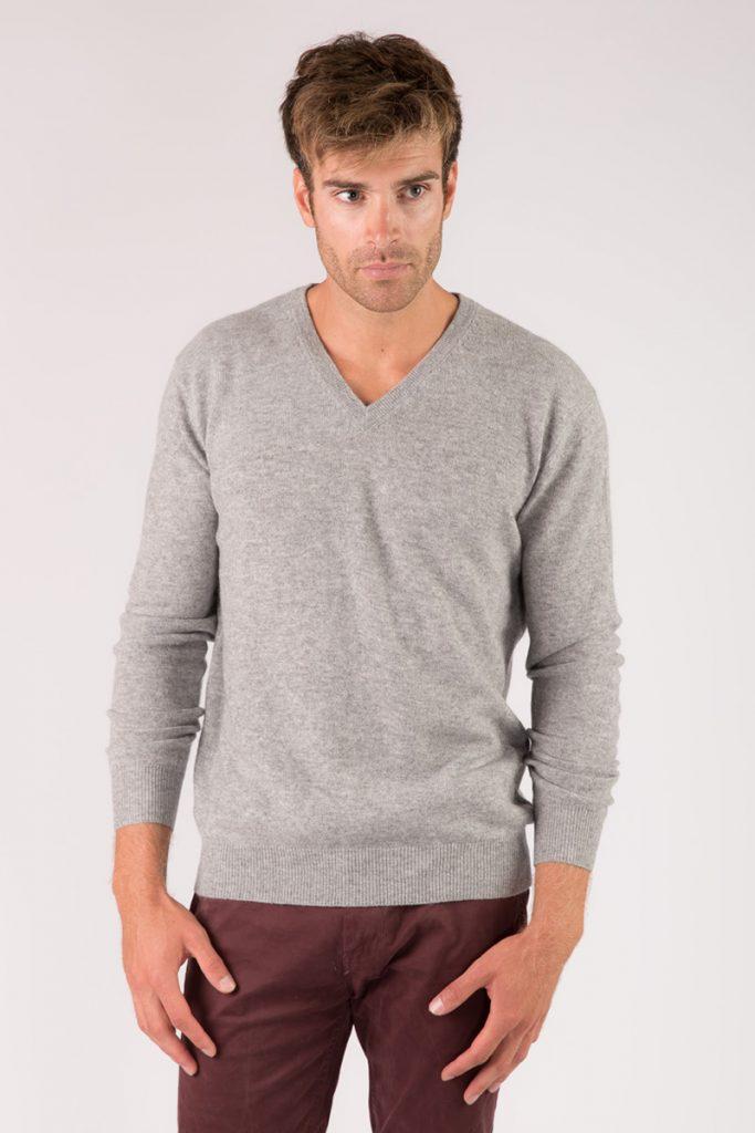 Just Cashmere pull col v gris