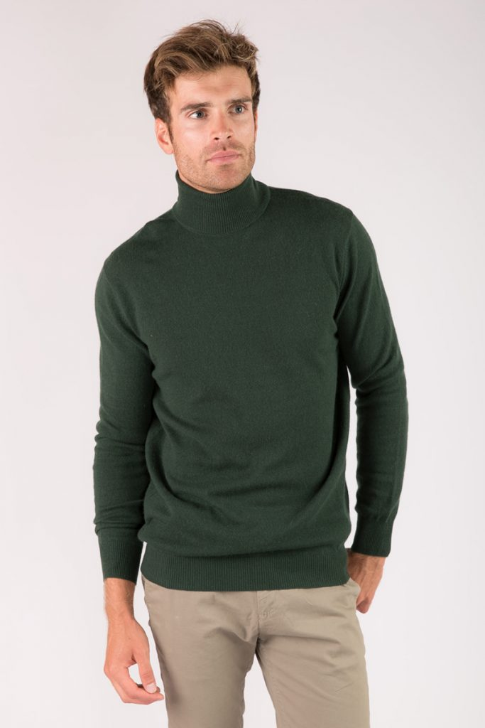 Just Cashmere pull col roulé vert