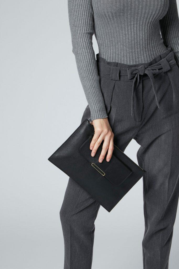 Minelli pochette cuir noir