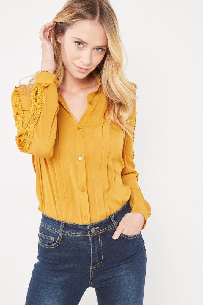 collectionIRL chemise plis dentelle