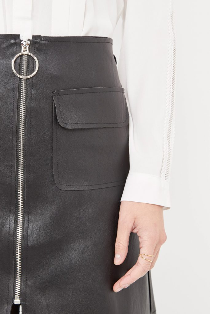 collectionIRL jupe effet cuir zippée