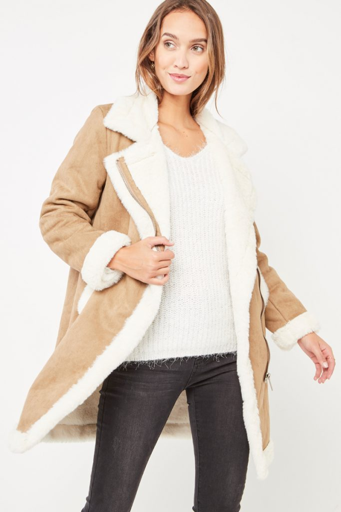collectionIRL manteau effet daim et fourrure synthétique