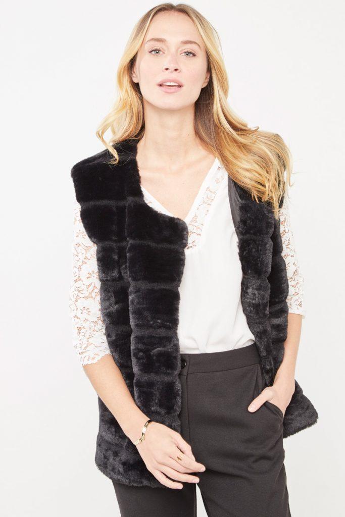 collectionIRL veste sans manches fourrure synthétique