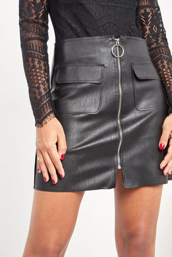 partyIRL jupe effet cuir zippée