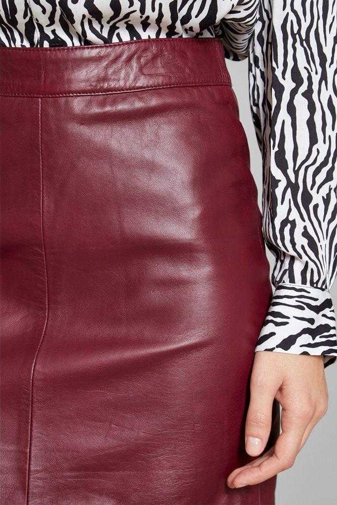 Sinéquanone jupe droite en cuir d'agneau