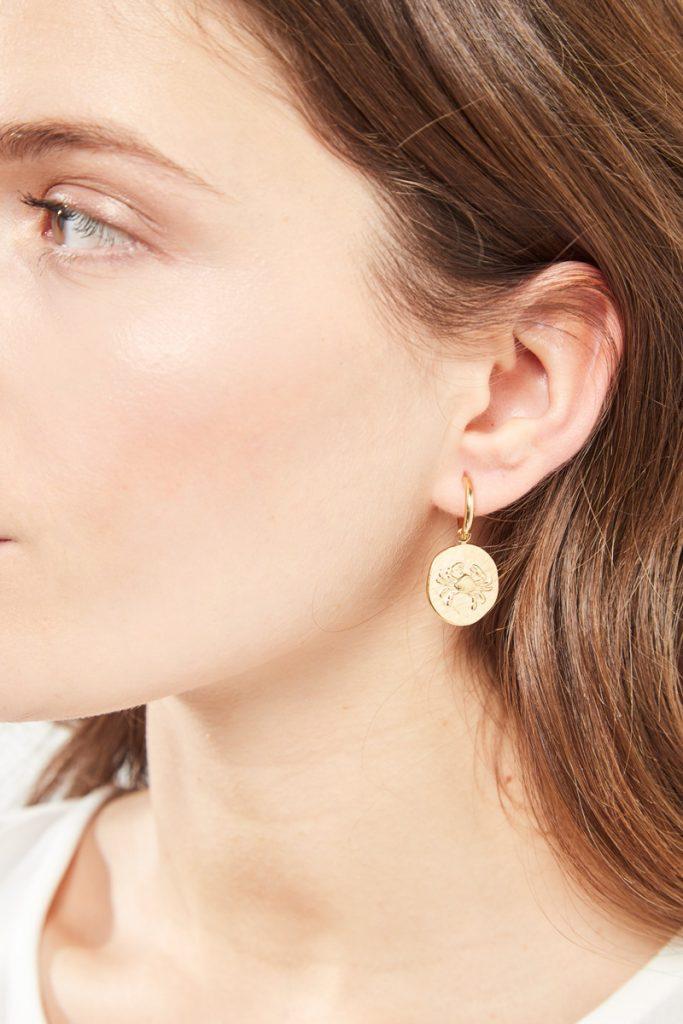 collectionIRL boucles d'oreilles dorées Cancer
