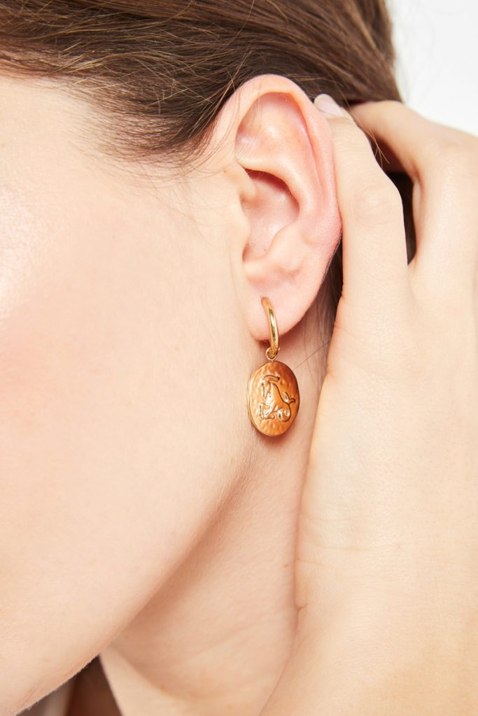 collectionIRl boucles d'oreilles dorées Capricorne