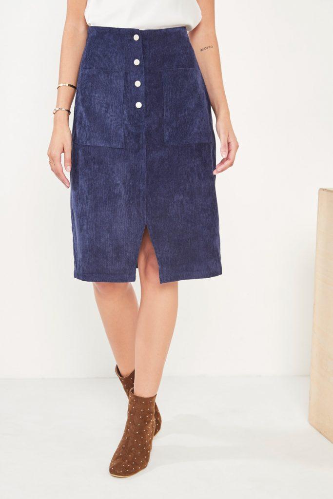 collectionIRL jupe boutonnée velours