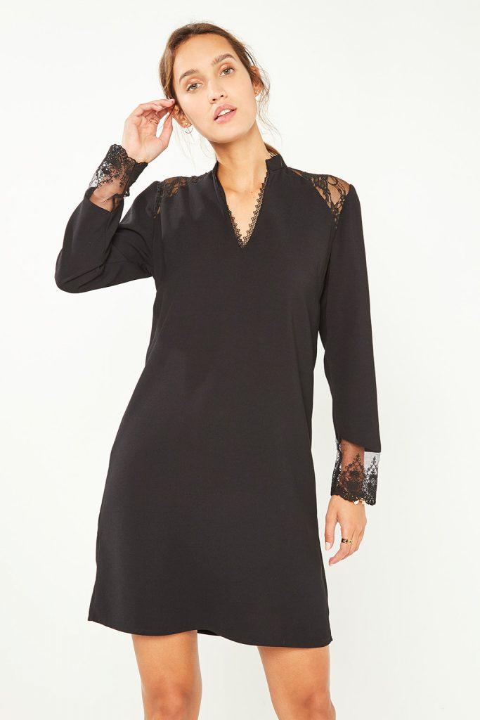 collectionIRL robe droite à détails dentelle