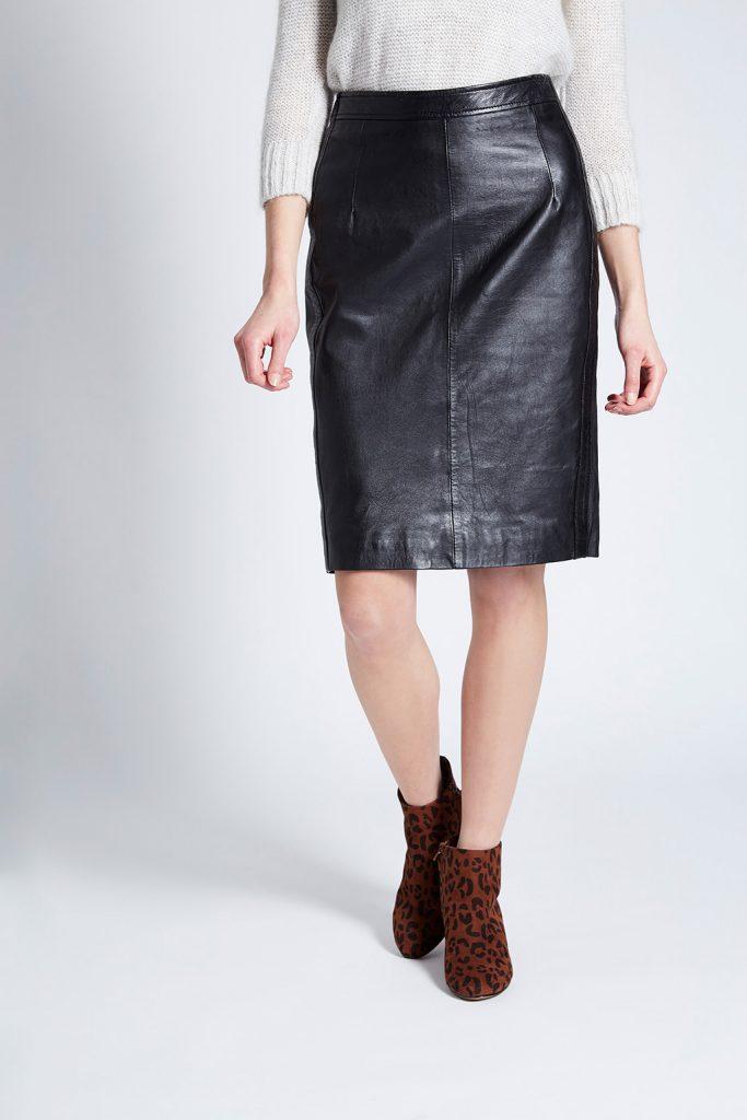 Le comptoir du cuir jupe droite en cuir de mouton