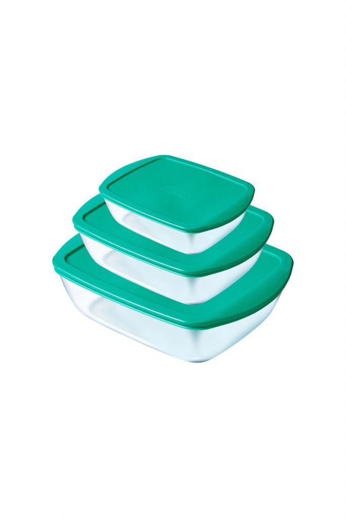Pyrex 3 plats rectangulaires verre borosilicate
