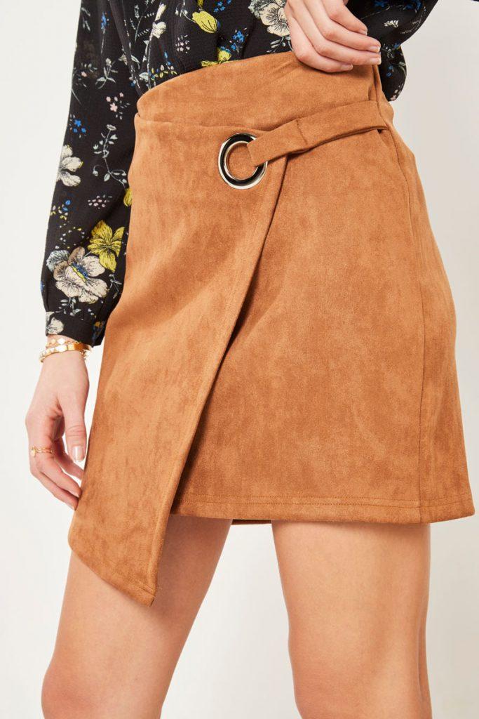 collectionIRL jupe asymétrique effet nubuck