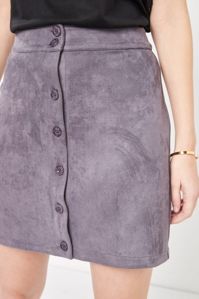 collectionIRL jupe boutonnée effet nubuck