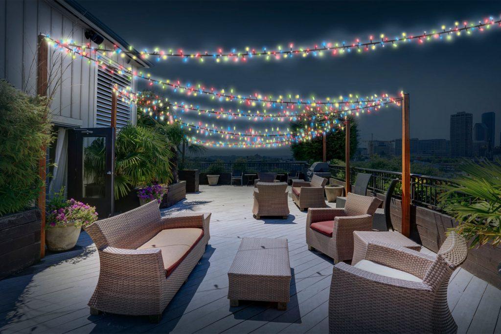J'aménage ma terrasse guirlande solaire extérieure