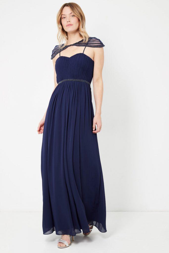 weddingIRL robe longue plissée perles brodées